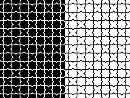 style geometric: Set of abstract geometric line style mosaic seamless pattern background.