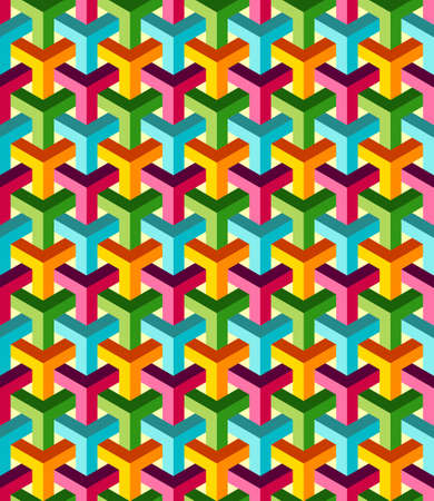 seamless pattern background: Abstrakt isometrische 3D-bunten Formen nahtlose Muster Hintergrund. Ideal f�r Stoffdesign