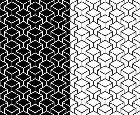 아이소 메트릭 3d 라인 큐브 원활한 패턴 배경의 세트입니다.