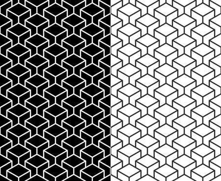 Set of Isometric 3d line cube seamless pattern background.