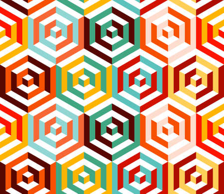 Abstract isometric 3d retro colorful hexagonal shapes seamless pattern background.  Vector