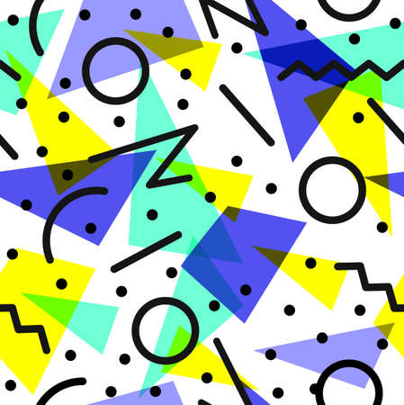 fabric design: Retro vintage 80s fashion style seamless pattern illustration background. Illustration