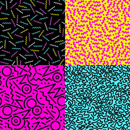 eighties: Set of retro vintage 80s fashion style seamless pattern illustration background.