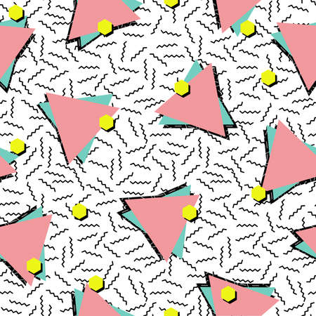 Retro vintage 80s fashion style seamless pattern illustration background.  イラスト・ベクター素材