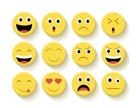 caras felices: Conjunto de emoticonos ilustraci�n plana con el fondo aislado.