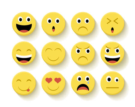 smile happy: Set of Emoticons flat illustration with isolated background.