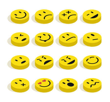 emotional love: Set of Emoticons isometric flat illustration with isolated background.