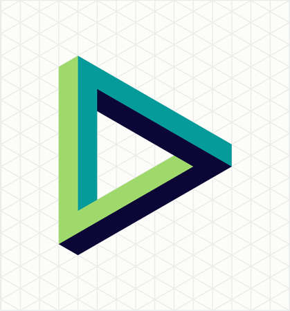 grid: Abstract impossible triangle sign, retro optical effect shape with isometric grid background. Illustration