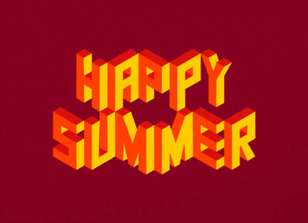 happy summer: Isometric text Happy Summer quote idea with paper sheet design background illustration.