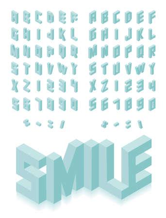Isometric 3d type font set isolated background illustration