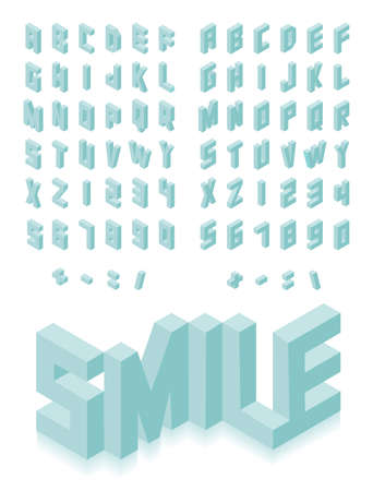 Isometric 3d type font set isolated background illustration