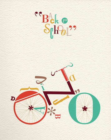 school activities: Back to school retro hipster bicycle illustration with type font bike shape and vintage paper background. Ideal for print poster and greeting card design. EPS10 vector