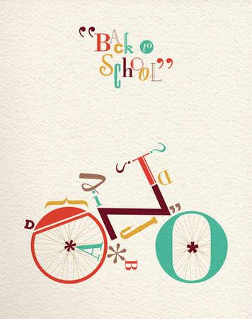bicyclette: Retour � l'�cole r�tro hippie illustration de v�los avec la forme type de police de v�lo et vintage fond de papier. Id�al pour l'affiche d'impression et de conception de carte de voeux. EPS10 vecteur Illustration