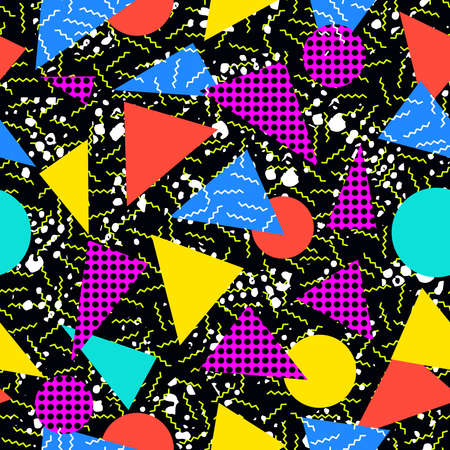 Retro vintage 80s memphis fashion style seamless pattern illustration background. Ideal for fabric design, paper print and website backdrop. EPS10 vector file.