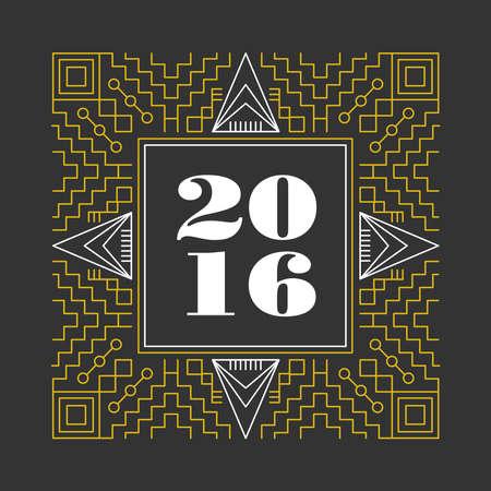 line art: A�o Nuevo 2016 l�nea inconformista marco monograma retro vintage en el dise�o de estilo de l�nea geom�trica. Ideal para tarjetas de felicitaci�n y p�ster de impresi�n. Archivo vectorial EPS10.