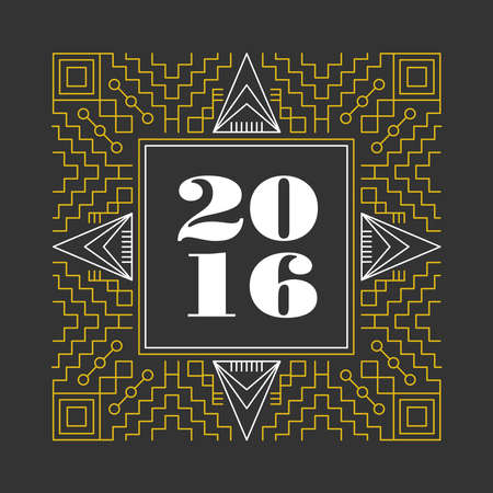 illustration line art: New Year 2016 retro vintage hipster line monogram frame in geometric line style design. Ideal for greeting card and print poster. EPS10 vector file.