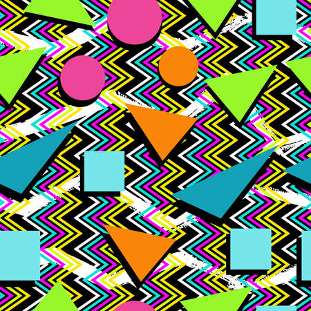 abstract pattern: Retro vintage 80s memphis fashion style seamless pattern illustration background. Ideal for fabric design, paper print and website backdrop. EPS10 vector file.
