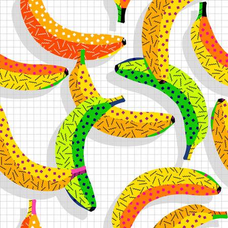 banane: 80 Vintage rétro fashion style alimentaire banane pattern illustration de fond. Idéal pour la conception de tissu, de papier d'impression et le site Web toile de fond. Fichier vectoriel EPS10.