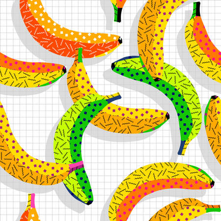 banana: Retro vintage 80s banana food fashion style seamless pattern illustration background. Ideal for fabric design, paper print and website backdrop. EPS10 vector file.