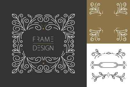 レトロなビンテージ ヒップ ライン デザインのモノグラム ・ フレームと花のスタイルの枠線の設定。グリーティング カード、ブランド デザイン、  イラスト・ベクター素材