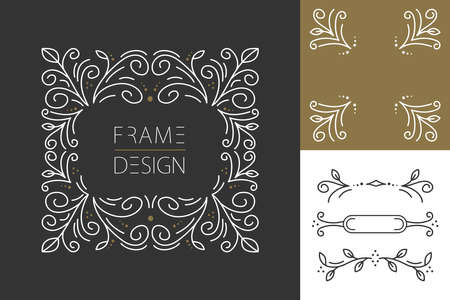 Retro vintage hipster set of line design monogram frames and borders in floral style. Ideal for greeting card, brand design and print poster. EPS10 vector file.