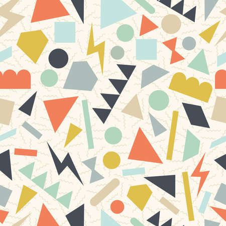 arty: Retro vintage 80s memphis geometric fashion style seamless pattern illustration background. Ideal for fabric design, paper print and website backdrop. EPS10 vector file. Illustration