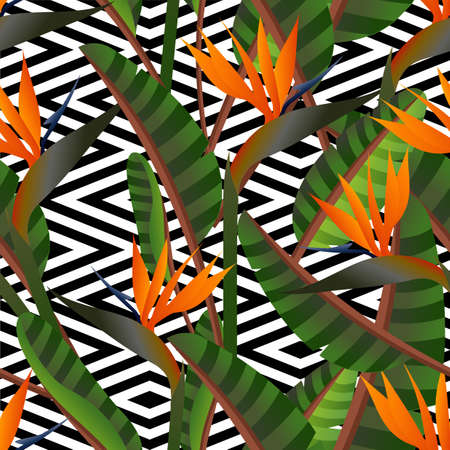 birds of paradise: Colorful retro bird of the paradise flowers and geometric seamless pattern background. Ideal for fabric, wrapping paper and cover design. EPS10 vector file.