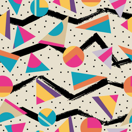 memphis: Retro vintage 80s memphis fashion style seamless pattern illustration background. Ideal for fabric design, paper print and website backdrop. EPS10 vector file.