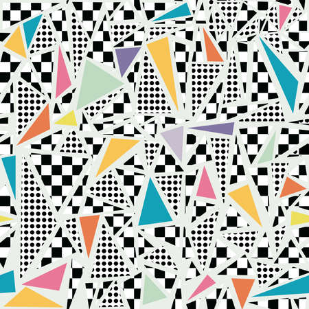 style: Retro vintage 80s memphis fashion style seamless pattern illustration background. Ideal for fabric design, paper print and website backdrop. EPS10 vector file.