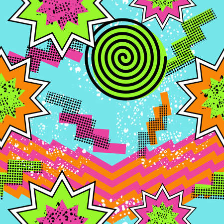cool: Retro vintage 80s comic shapes style seamless pattern illustration background. Ideal for fabric design, paper print and website backdrop. EPS10 vector file.