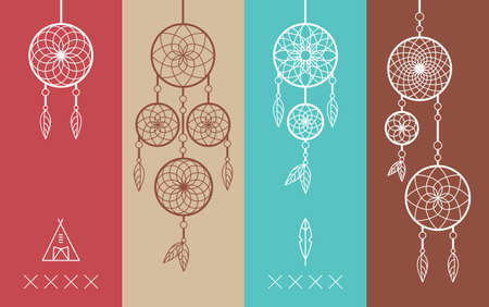 Set of Dream catcher boho icons simple line style illustration. Ideal for t-shirt stamp, print poster and greeting card design.  vector file.