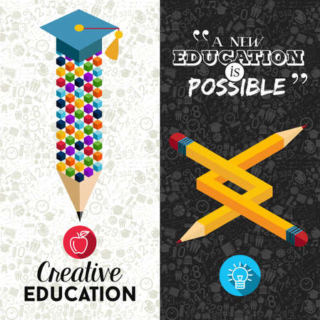 study icon: Back to school concept with creative impossible pencil shape illustration. Ideal for web banner, education book cover and poster print.  vector file.