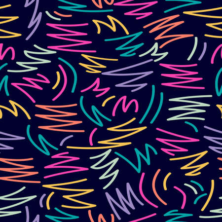 Retro vintage 80s memphis doodle fashion style seamless pattern illustration background. Ideal for fabric design, paper print and website backdrop. EPS10 vector file. Çizim