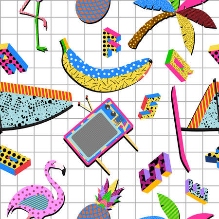 Retro vintage 80s memphis summer elements seamless pattern illustration background. Ideal for fabric design, paper print and website backdrop. EPS10 vector file. Imagens - 43202806