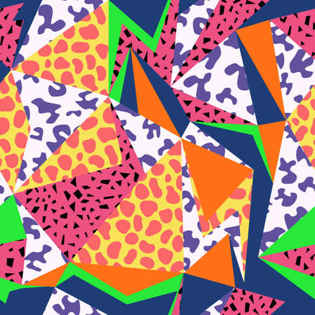 Retro vintage 80s memphis fashion style seamless pattern illustration background. Ideal for fabric design, paper print and website backdrop.  vector file.