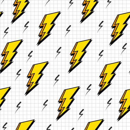 Vintage 80s rayo pernos del estilo retro de la moda sin fisuras patrón ilustración de fondo. Ideal para el diseño de la tela, la impresión de papel y el sitio web telón de fondo. archivo vectorial.