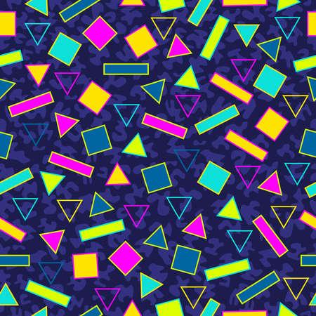 fondo geometrico: 80 de la vendimia del estilo retro de la moda memphis patr�n transparente ilustraci�n de fondo. Ideal para el dise�o de la tela, la impresi�n de papel y el sitio web tel�n de fondo. archivo vectorial.