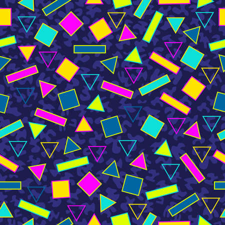 geometric shapes: Retro vintage 80s memphis fashion style seamless pattern illustration background. Ideal for fabric design, paper print and website backdrop.  vector file.