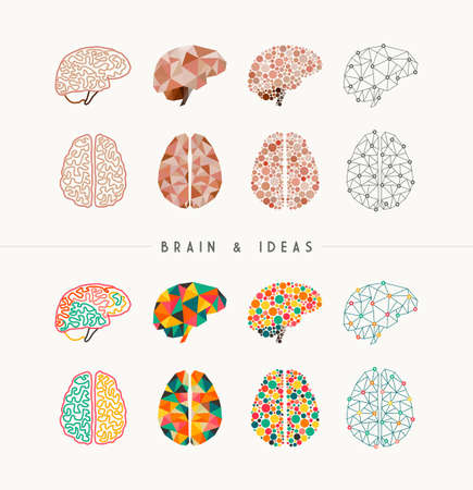 brain: Set of colorful brains and ideas elements concept illustration. Ideal for app icons, infographic design and creative brochure.  vector file.