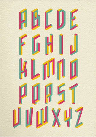letters of the alphabet: Colorful retro isometric 3d impossible shapes type font set whit vintage paper background illustration.  vector file.
