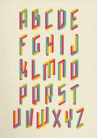 alphabet letters vector: Colorful retro isometric 3d impossible shapes type font set whit vintage paper background illustration.  vector file.