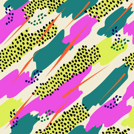 backdrop: Retro vintage 80s memphis fashion style seamless pattern illustration background. Ideal for fabric design, paper print and website backdrop.  file.