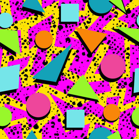 eighties: Retro vintage 80s memphis fashion style seamless pattern illustration background. Ideal for fabric design, paper print and website backdrop. EPS10 vector file.