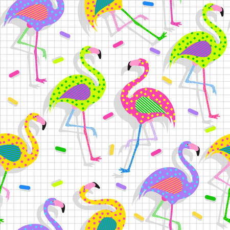 flamingo: Retro vintage 80s flamingo fashion style seamless pattern illustration background. Ideal for fabric design, paper print and website backdrop. EPS10 vector file. Illustration