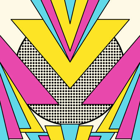 style: Retro vintage 80s memphis geometric fashion style seamless pattern illustration background. Ideal for fabric design, paper print and website backdrop.  vector file. Illustration