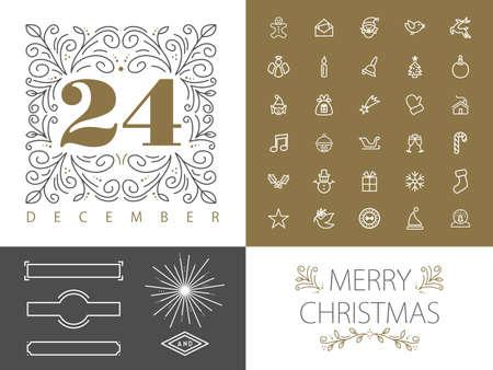 navidad elegante: Feliz Navidad inconformista retro vintage conjunto de marcos monograma fronteras y los iconos en el diseño de estilo de línea. Ideal para tarjetas de felicitación y de Navidad de la impresión del cartel. Archivo vectorial EPS10. Vectores