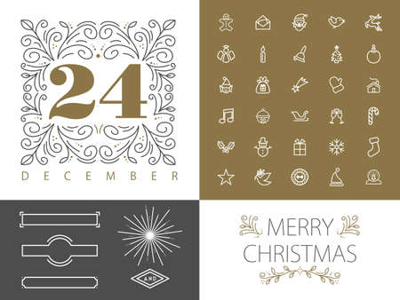 xmas card: Merry Christmas retro vintage hipster set of monogram frames borders and icons in  line style design. Ideal for greeting card and xmas print poster. EPS10 vector file. Illustration
