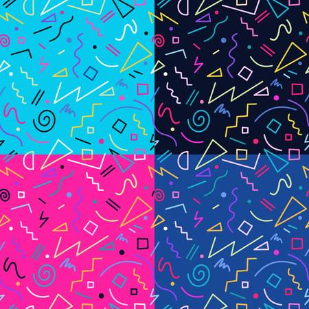 fun: Set of retro vintage 80s memphis fashion style seamless pattern illustration background. Ideal for fabric design, paper print and website backdrop.  vector file.
