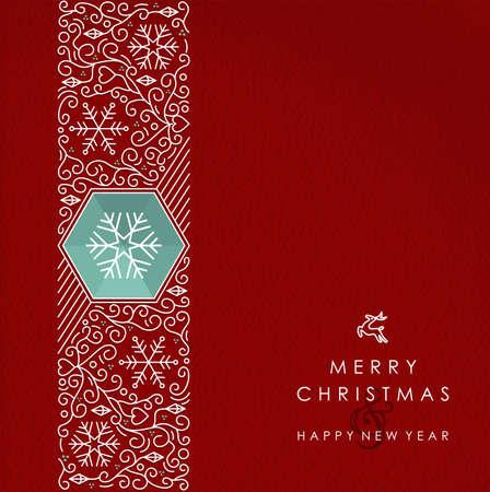 メリー クリスマスと新年あけましておめでとうございますビンテージ ライン モノグラム スタイルの背景。