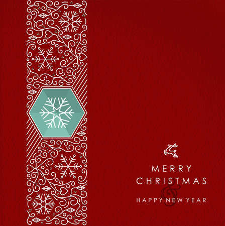 Merry Christmas and Happy New Year vintage line monogram style background.